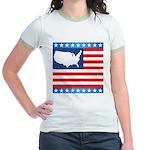 USA Map on Flag with Stars Jr. Ringer T-Shirt