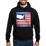 USA Map on Flag with Stars Hoodie (dark)