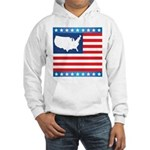 USA Map on Flag with Stars Hooded Sweatshirt