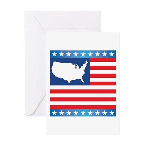 USA Map on Flag with Stars Greeting Card