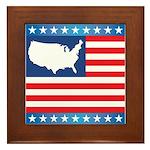 USA Map on Flag with Stars Framed Tile
