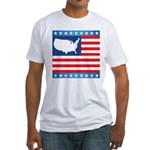 USA Map on Flag with Stars Fitted T-Shirt