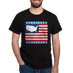 USA Map on Flag with Stars Dark T-Shirt