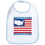 USA Map on Flag with Stars Bib