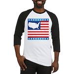 USA Map on Flag with Stars Baseball Jersey