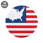 """USA Map on Flag with Stars 3.5"""" Button (10 pack)"""