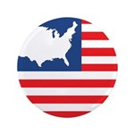 """USA Map on Flag with Stars 3.5"""" Button"""