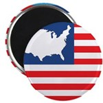 """USA Map on Flag with Stars 2.25"""" Magnet (10 pack)"""