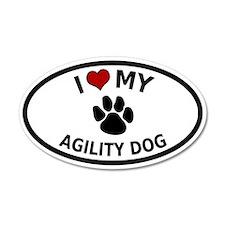 I Love My Agility Dog 20x12 Oval Wall Peel