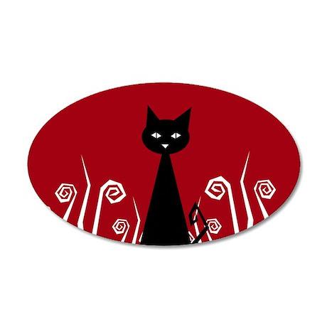Black Cat 35x21 Oval Wall Peel