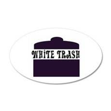 White Trash Can 20x12 Oval Wall Peel