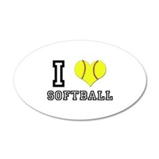 I Heart (Love) Softball 20x12 Oval Wall Peel
