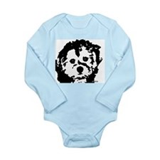 porkie - black & white Long Sleeve Infant Bodysuit