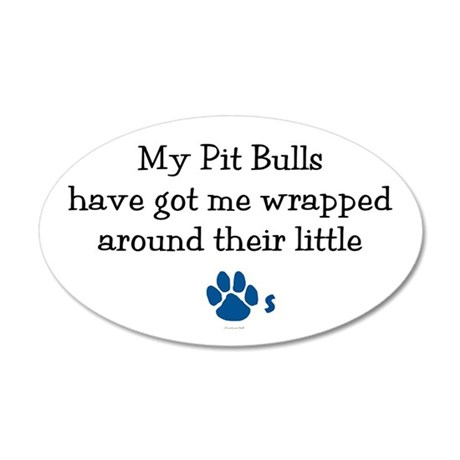 Wrapped Around Their Paws (Pit Bull) Sticker (Oval