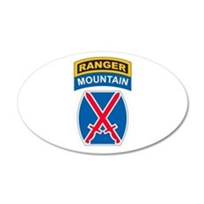 10th Mountain Div with Ranger 20x12 Oval Wall Peel