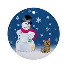 Yorkshire Terrier and Snowman Ornament (Round)