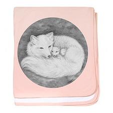 Arctic Fox Family ~ Baby Blanket ~ Round