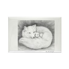 Arctic Fox Family ~ Rectangle Magnet (10 pack)