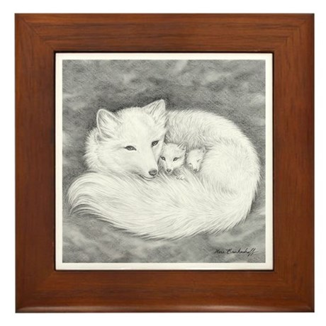 Arctic Fox Family ~ Framed Tile