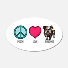 Peace Love & Bulldogs 20x12 Oval Wall Peel