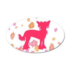 Chinese Crested Flowers 20x12 Oval Wall Peel