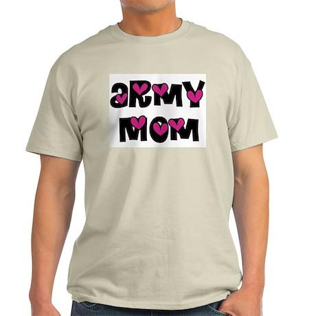 Army Mom Pink Hearts Ash Grey T-Shirt