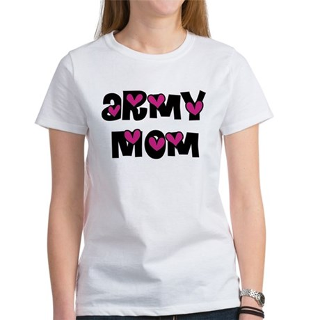 Army Mom Pink Hearts Women's T-Shirt