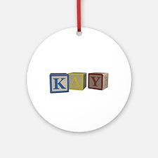 Kay Alphabet Block Ornament (Round)