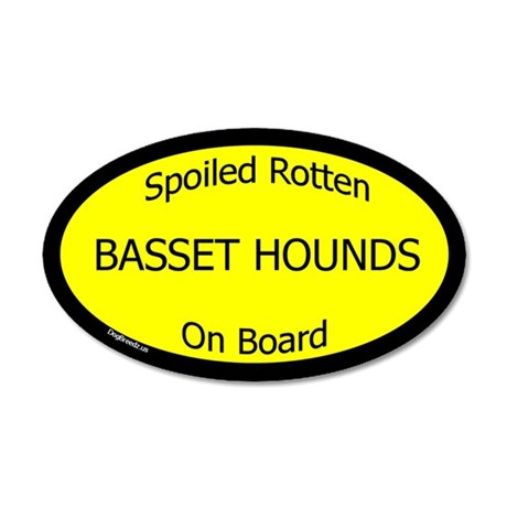 Spoiled Basset Hounds On Board 20x12 Oval Wall Pee