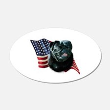 Pug (Blk) Flag 20x12 Oval Wall Peel