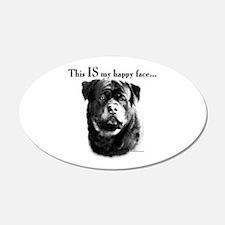 Rottweiler Happy Face 20x12 Oval Wall Peel