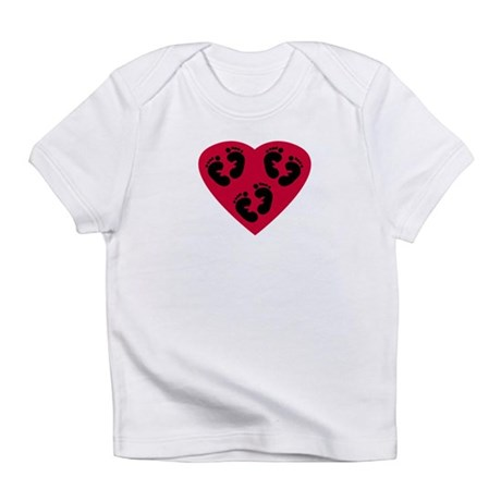 Triplet Baby Footprints Heart Infant T-Shirt