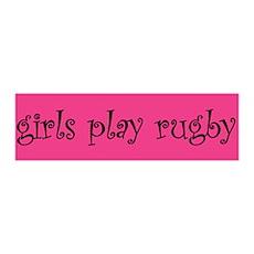 Girls play rugby 36x11 Wall Peel