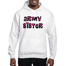 Army Sister Pink Hearts Hoodie