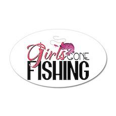 Girls Gone Fishing 20x12 Oval Wall Peel