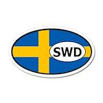 Sweden Flag 35x21 Oval Wall Peel