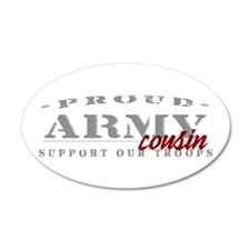 Proud Army Cousin (red) 35x21 Oval Wall Peel