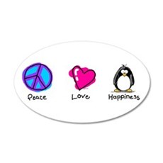 Peace Love and Penguins 20x12 Oval Wall Peel