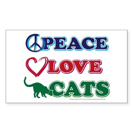 Peace Love Cats Sticker (Rectangle)