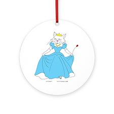 Princess Feline Cat in Blue Ornament (Round)
