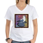 Swallow Pigeon Framed Women's V-Neck T-Shirt