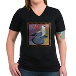 Swallow Pigeon Framed Women's V-Neck Dark T-Shirt
