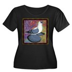 Swallow Pigeon Framed Women's Plus Size Scoop Neck