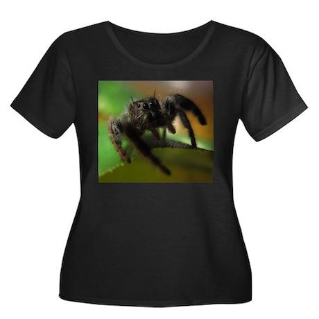 Jumping Spider Women's Plus Size Scoop Neck Dark T