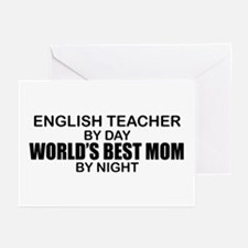 World's Best Mom - ENGLISH TEACHER Greeting Cards