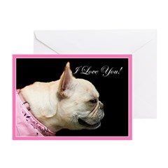I Love You French bulldog Greeting Cards (Pk of 20