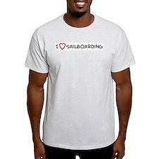 I Love Sailboarding Ash Grey T-Shirt