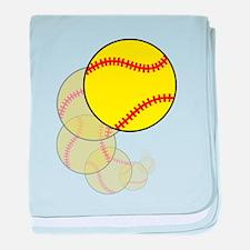 Softball Wave baby blanket
