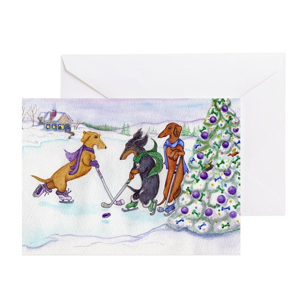Ice Hockey Dachsies Christmas Cards (20) By Terrypond