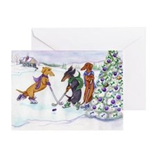 Ice Hockey Dachshunds Christmas Card